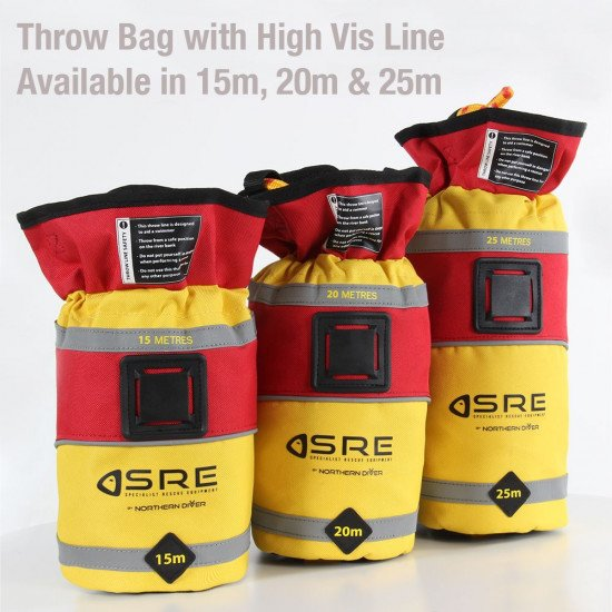 SRE Throw Bags with high vis line in 15m, 20m & 25m