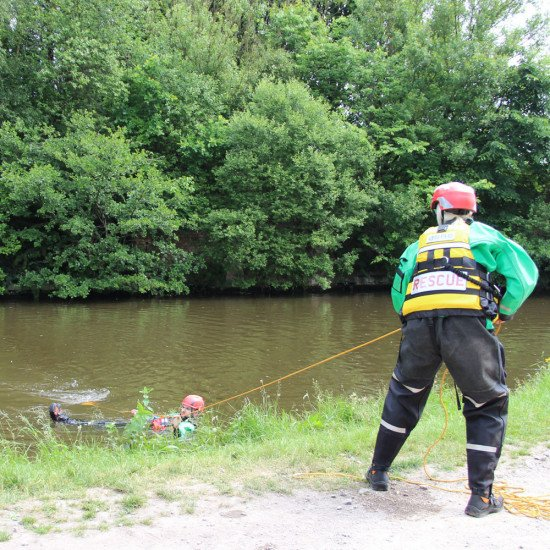 Throw bag in action - on the canal, helping with a demo rescue