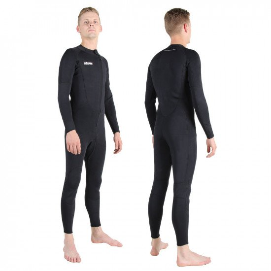 A model shown wearing the 3mm neoprene one piece suit