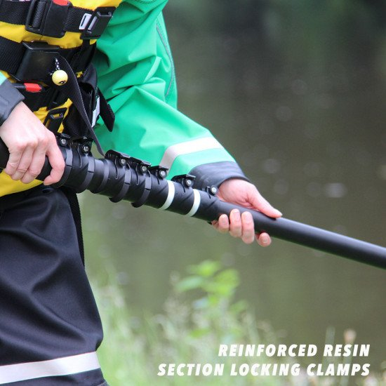 The reach pole can be adjusted and locked in place with the secure reinforced resin section clamps