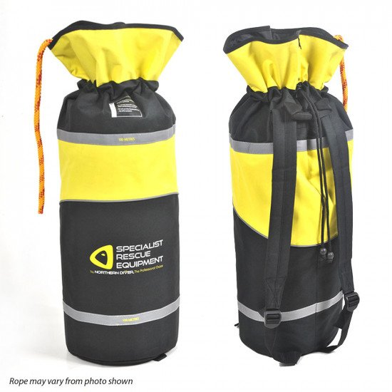 Yellow back pack with 60m reflective floating line