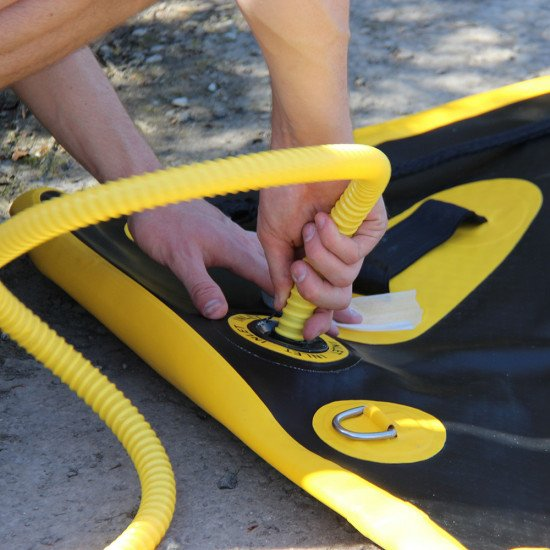 Northern Diver's SRE 8m Inflatable Air Track, easy to inflate