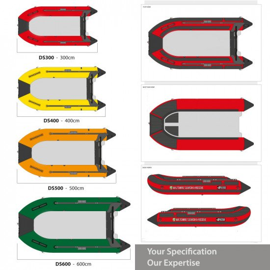 Inflatable boat with aluminium floor, technical drawings, sizes and branding options