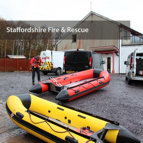 Staffordshire Fire & Rescue - preparing the boats to launch