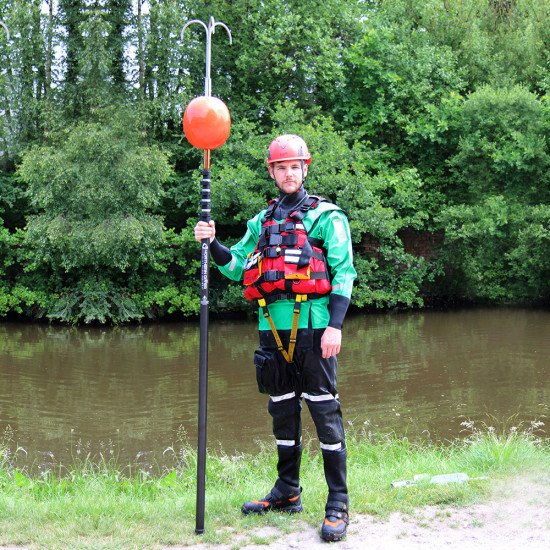 Inflatable buoy attachment fits comfortably onto the reach pole with any other attachment using our