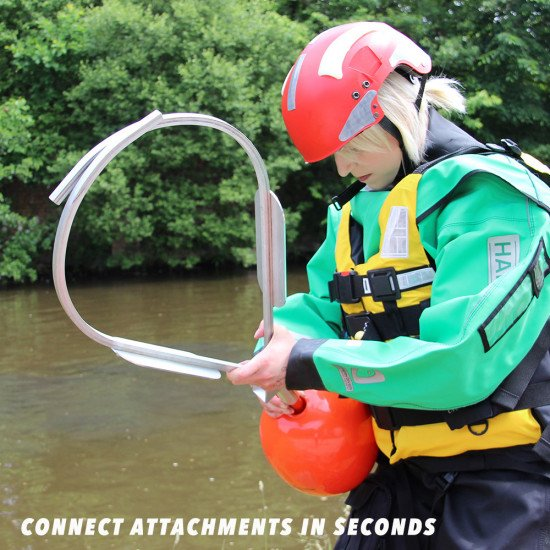 Inflatable buoy attachment in use with the water rescue jaws and reach pole