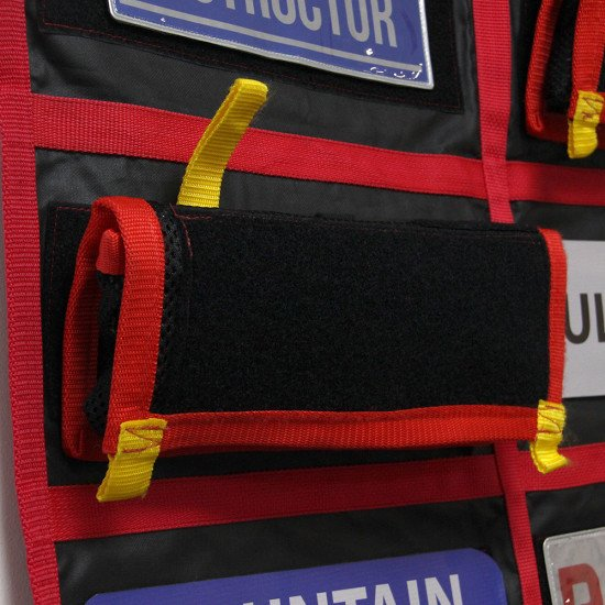 Lug pouches quickly and easily attached to Velcro panels on the storage bag.