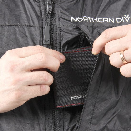 A zipped left chest pocket