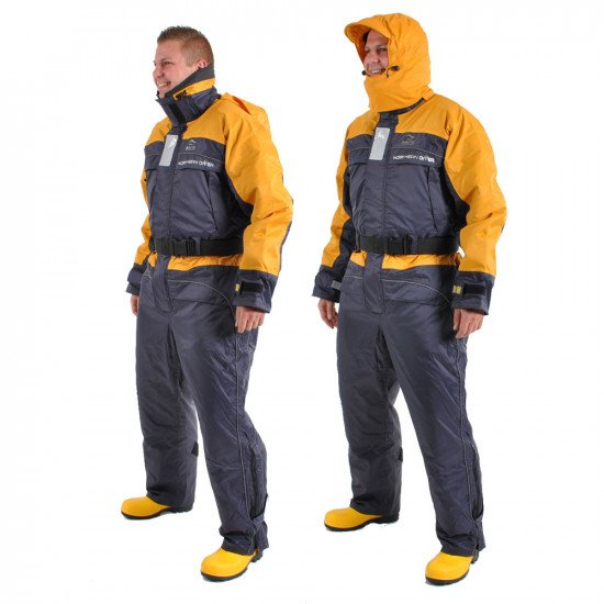 Flotation Suit - Front view, hood up and down