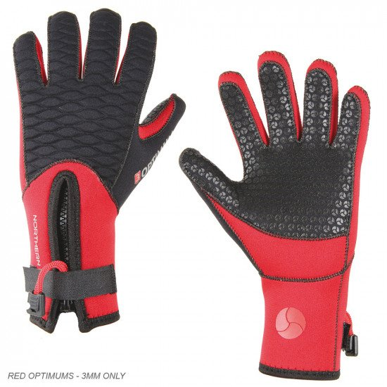 Red optimum dive gloves in 3mm neoprene