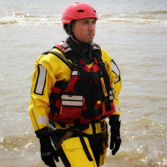 Northern Diver rescue suits are worn with Ndiver helmets, gloves and PFDs