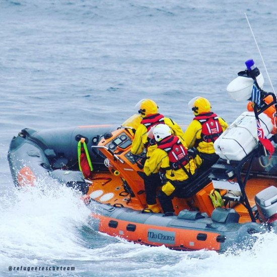 Emergency response Refugee Rescue Teams conducting a type of marine based rescue