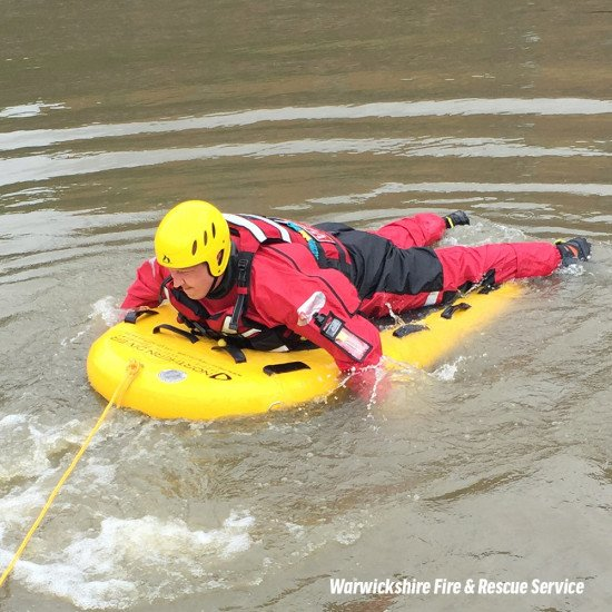 Warwickshire Fire & Rescue Service using northern divers rear entry responder drysuit and lifeboard