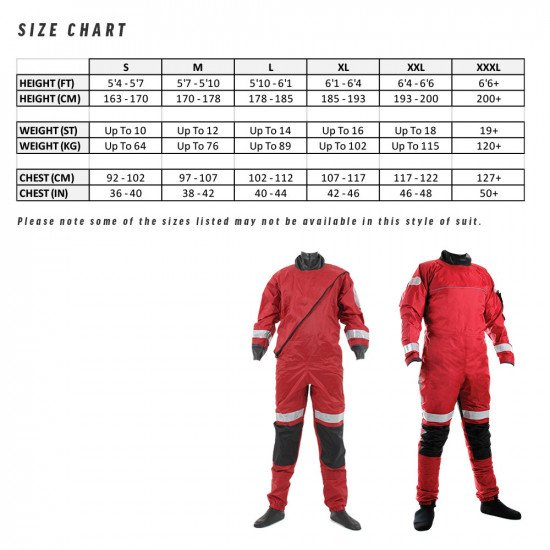 Size chart for northern diver responder rescue drysuit