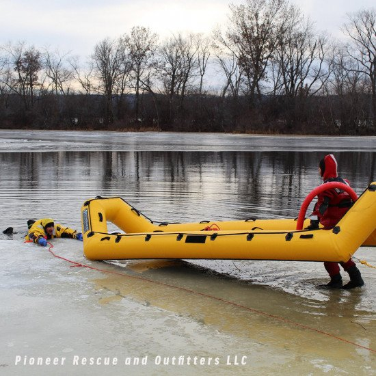 The raft can easily be inflated using one of our three-way inflator kits and pushed out to the ice t