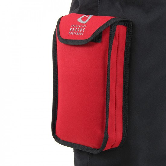 Velcro closing bellows leg pocket on the SF5 drysuit