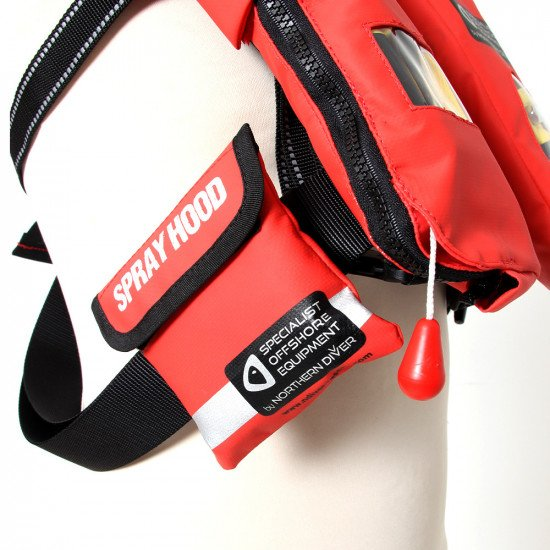 Supplied in a compact and lightweight storage pouch designed to be attached to the side of the life jacket webbing strap.
