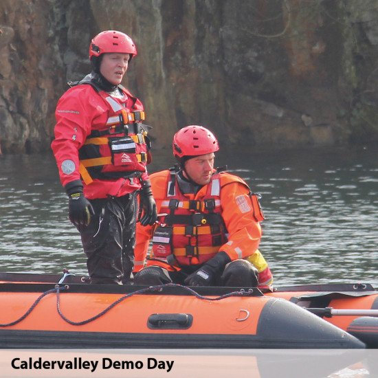 Caldervalley Team demo day with our inflatable boats and storm force suits