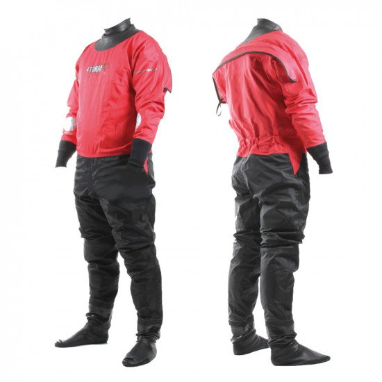 Front and back view of the 210D red SF4 watersports suit in the rear entry option