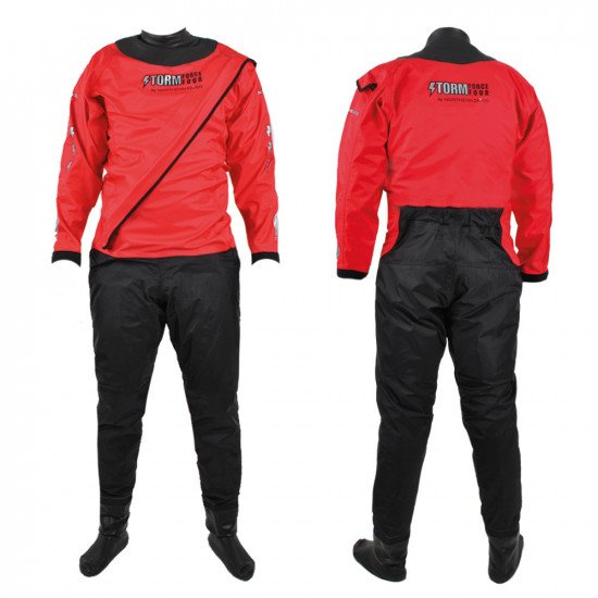 Our front entry red version of the SF4 storm water rescue membrane suit