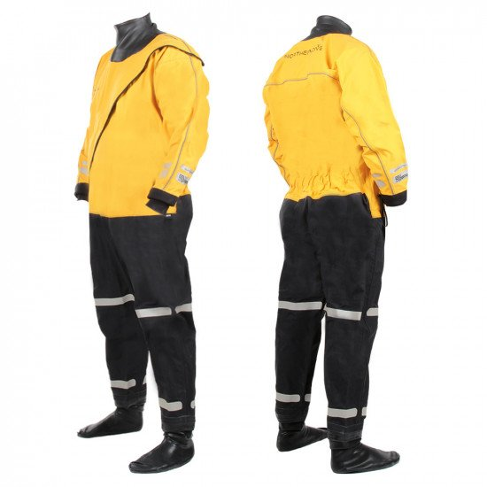 Front and back view of the amber colour Storm Force 4 320D surface suit