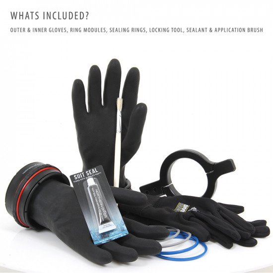 Included in the Dry Glove System package are the pair of Ansell Extra™ gloves, thermal fleece inner gloves, two dry glove modules, three sealing rings, a locking tool and an adhesive sealant*