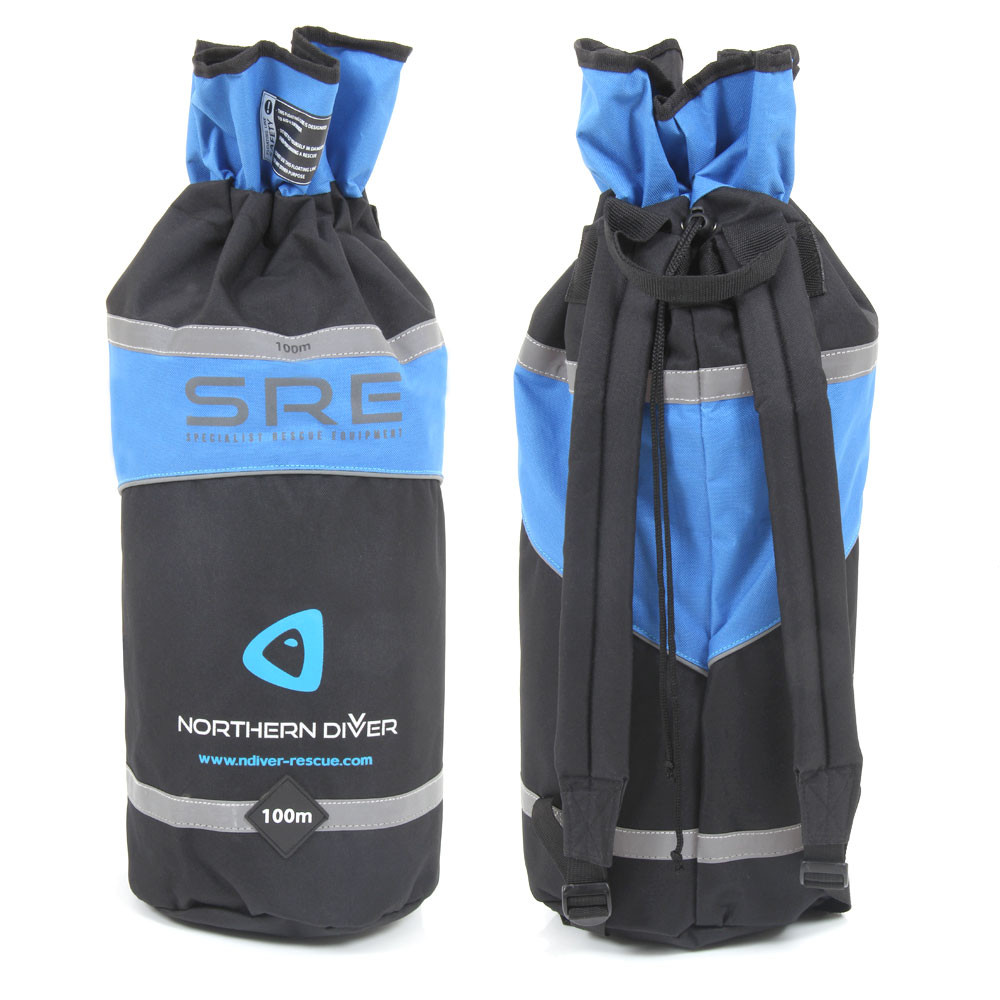 Blue back pack with 100m reflective floating line