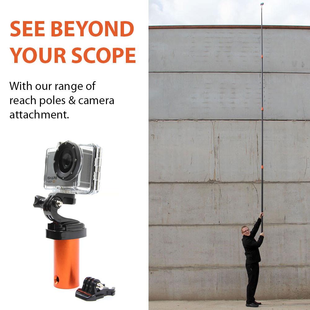 Go pro camera attachment for use with the rescue reach poles