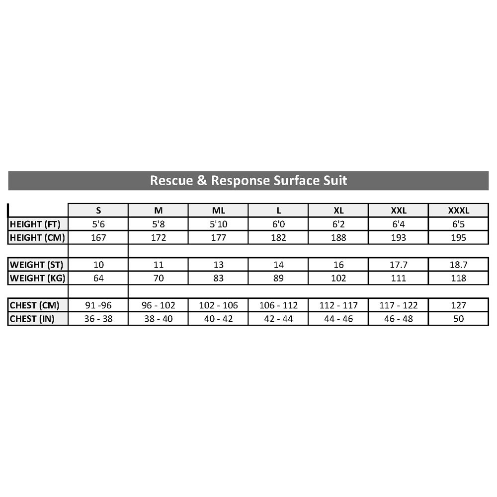The rescue and response suit size chart
