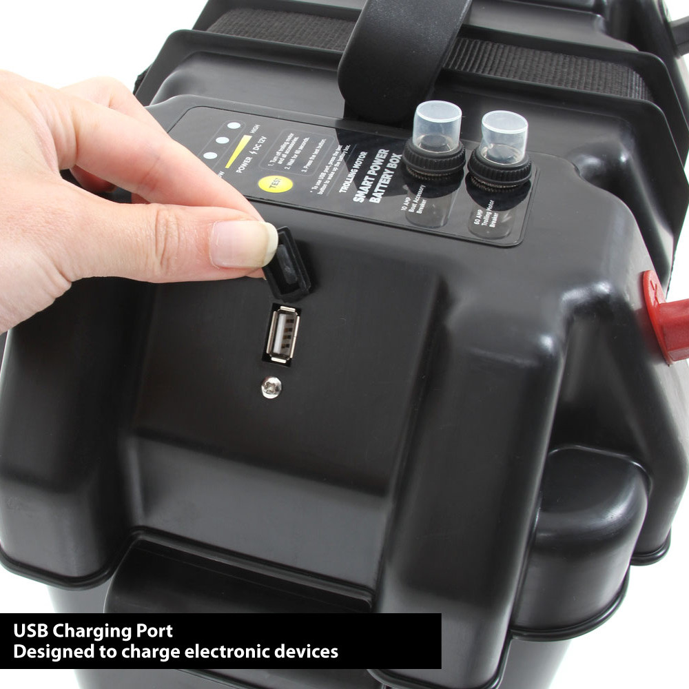 Smart Power Battery Box, close up of the USB socket on the lid