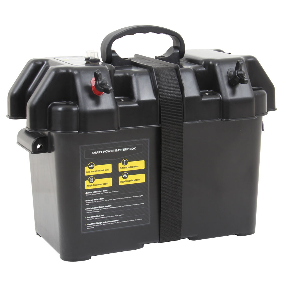 Smart Power Battery Box, shown from the front, closed  with lid buckled shut
