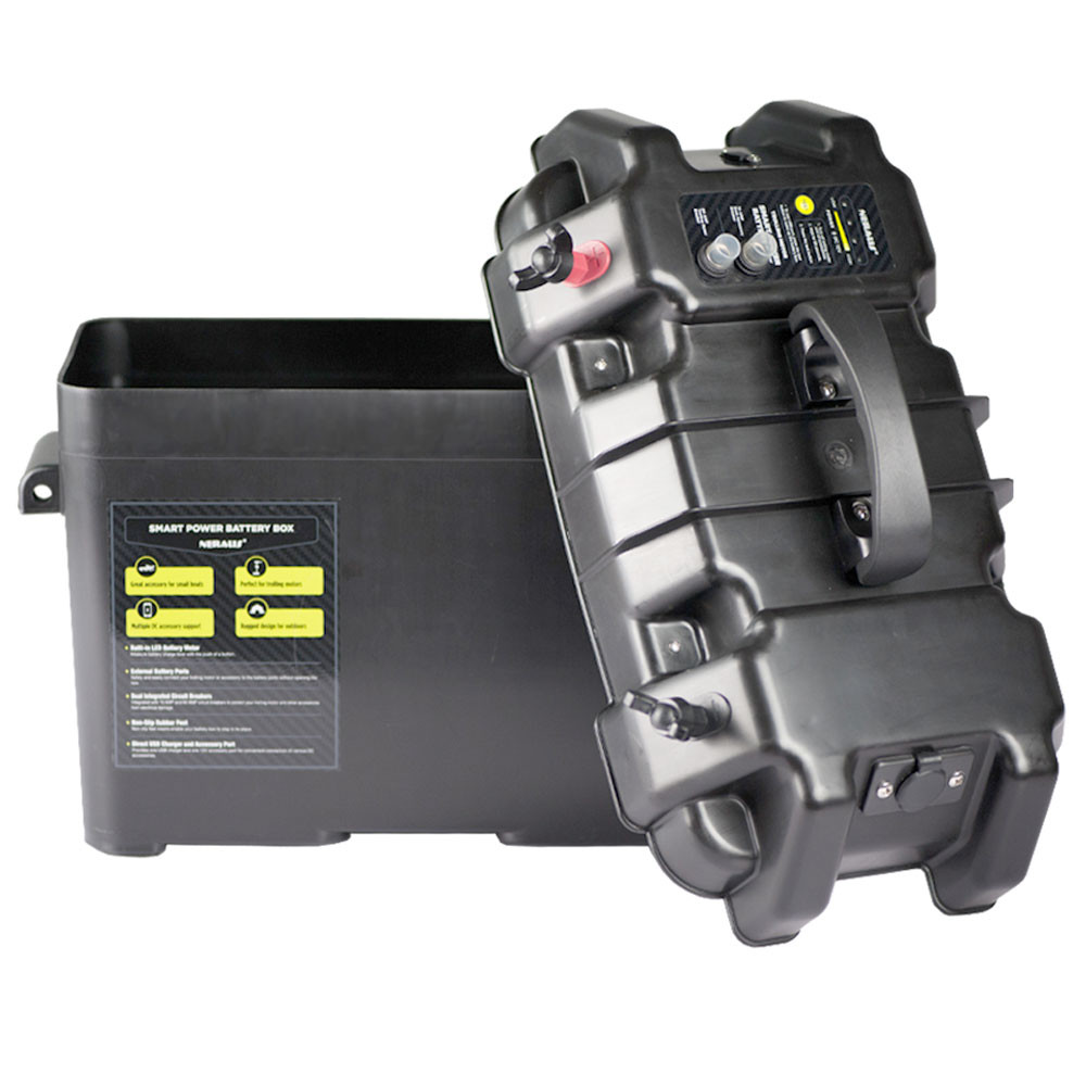 Smart Power Battery Box, shown open with the lid leaning against the box