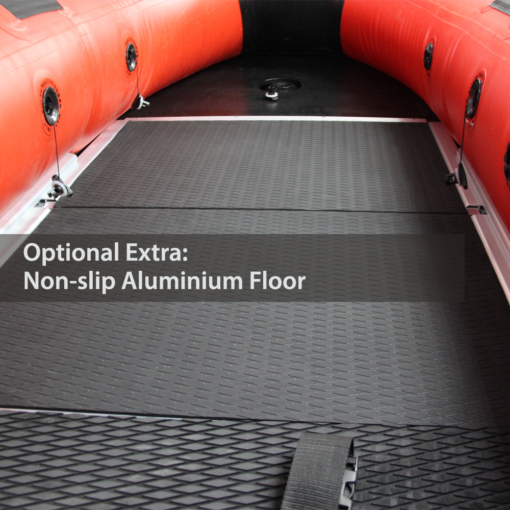 Inflatables with aluminium floor optional extra of non-slip coating