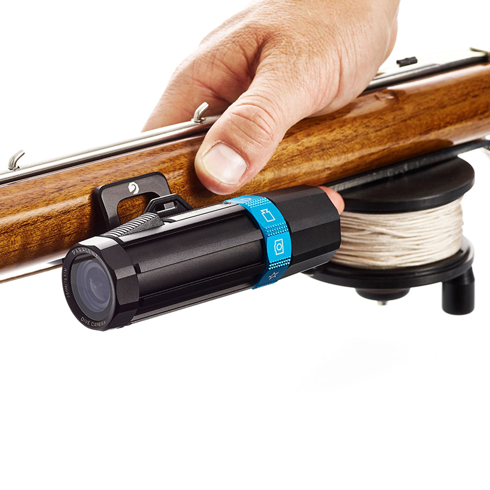 Paralenz® Speargun Mount affixed to a wooden speargun above the reel